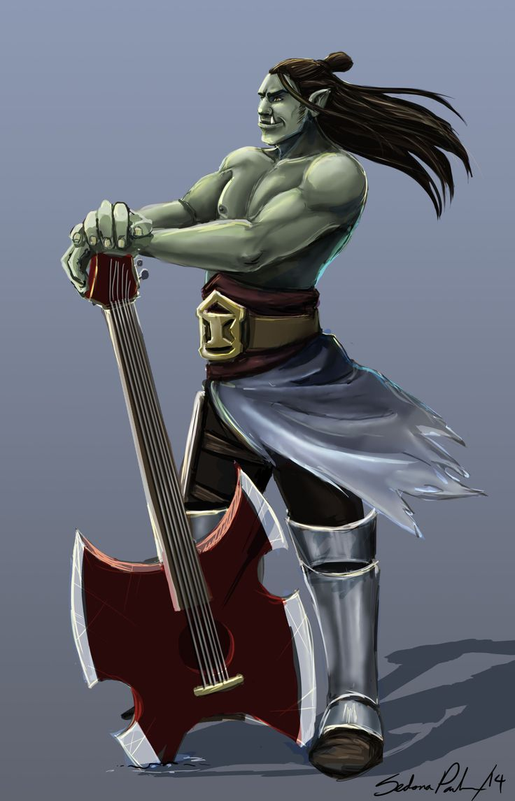 "anodesu: "" My new pathfinder character: Half orc skald. I haven't given him a name yet. Nothing's really clicking with him. I'm considering naming him after someone in Equilibrium. "" Dayum."