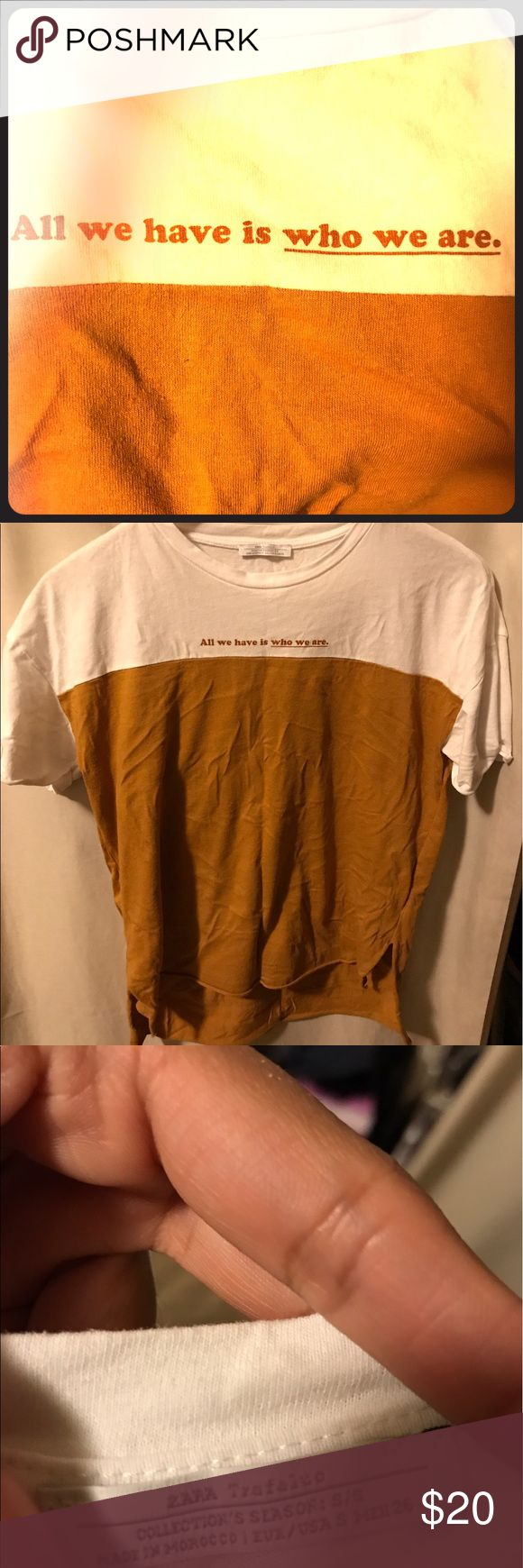 ZARA Tshirt • Size SMALL  • Sleeves and bottom of the shirt both roll up a bit. (as purchased) • No flaws 10/10 condition || Color on the bottom is like a dark honey mustard.   * Sorry for the wrinkles! 😇 Zara Tops Tees - Short Sleeve