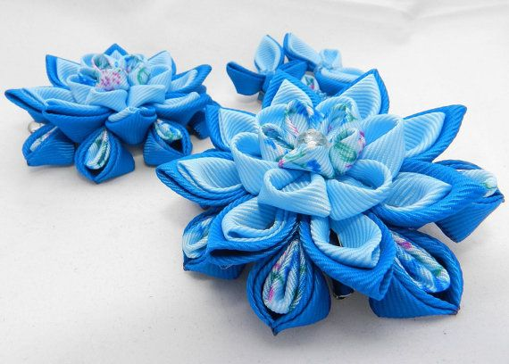 Tsumami Kanzashi flower set Cornflowers hair clip by LazuritLouise
