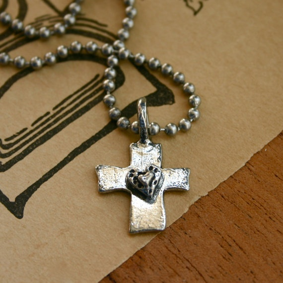 Pewter cross necklace with heart by JustJaynes on Etsy, $13.00West Michigan, Crosses Necklaces, Pewter Crosses, Etsy West