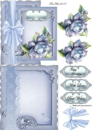 Blue Rose Overlap Mini Kit on Craftsuprint designed by Tina Fitch - A beautiful mini kit for you to make up and give as a beautiful card.Layer to add too.. would be well received  - Now available for download!