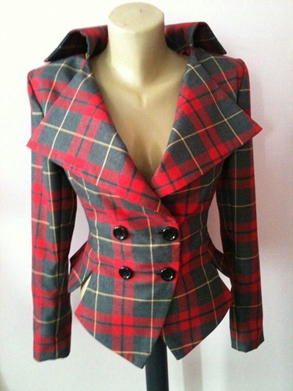 Tartan tailored jacket/vintage plaid jacket// Check lady blazer by StudioMariya on Etsy https://www.etsy.com/listing/177536612/tartan-tailored-jacketvintage-plaid