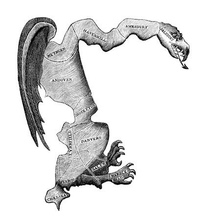 Gerrymandering: drawing the boundaries of electoral districts in a way that gives one party an unfair advantage over its rivals. The term is derived from the name of Governor Elbridge Gerry of Massachusetts, whose administration enacted a law in 1812 defining new state senatorial districts. The law consolidated the Federalist Party vote in a few districts and thus gave disproportionate representation to Democratic-Republicans. The outline of one of these districts resembled a salamander