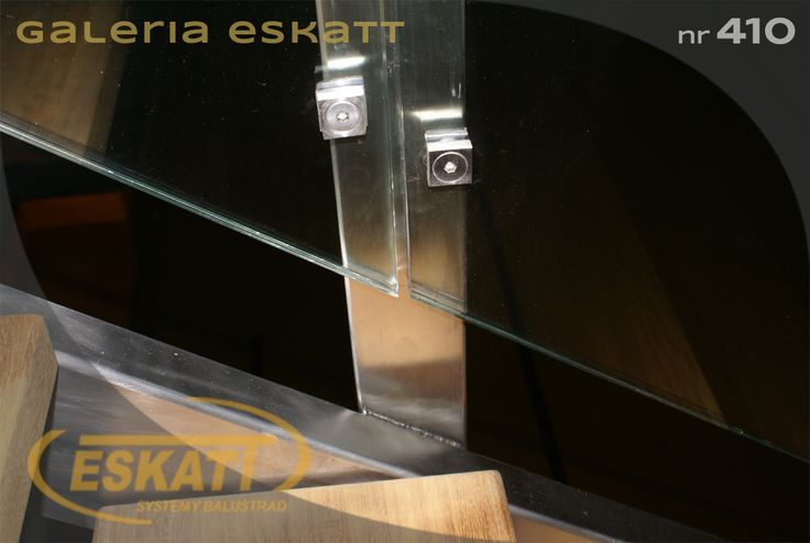 Safety glass balustrade with stainless steel square railing #balustrade #eskatt #construction #stairs