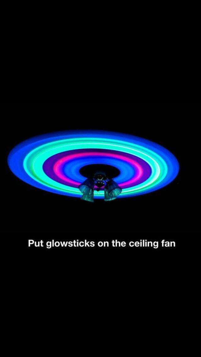Glow sticks on ceiling fan-Glow in the dark paint is pretty cool too!