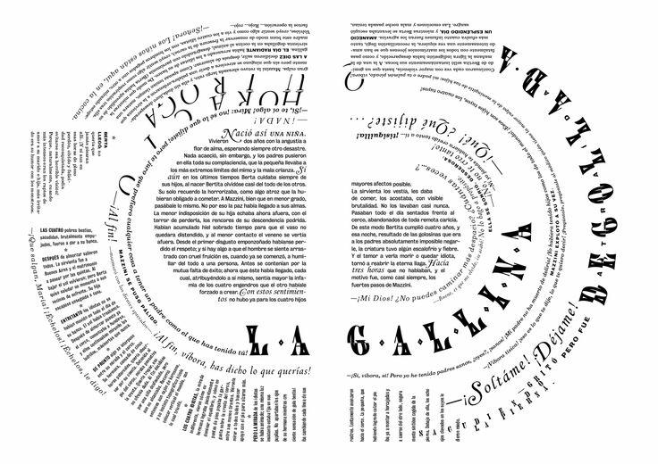 Fragmento del cuento La gallina degollada. La lectura comienza en el centro y ve en sentido contrario a las agujas del reloj.