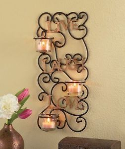 Live Laugh Love Candle Sconce Scrolled Metal Wall Decor Golden Tealight Holder