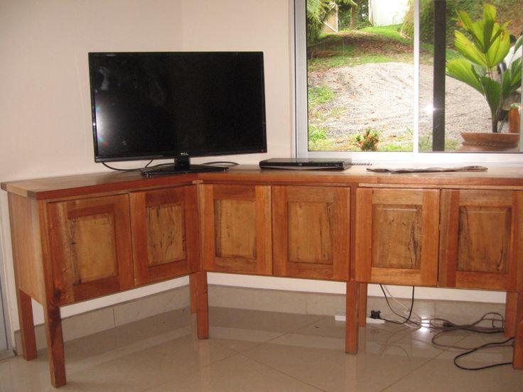 Cedar and anonillo corner tv stand
