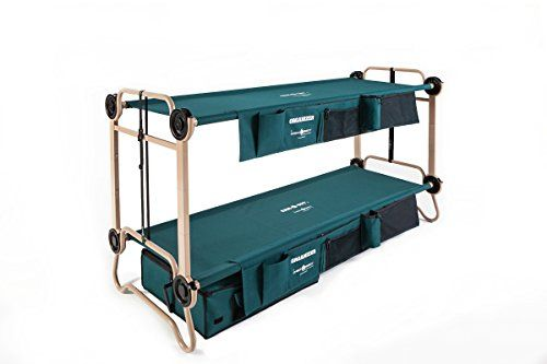 "Disc-O-Bed Cam-O Bunk Combo with 2 Organizers and 1 Foot Locker, Large. Bunk able cot system fits 2 people that's compatible with a range of tents. Easy tool free set up that gives 11 in; of ground clearance and 21 in; between cots. Frame is manufactured using rust resistant and powder coated steel that is robust, ultra strong with a weight tolerance of 500 lbs. per single cot. 28"" wide sleeping deck materials dry quickly with proper ventilation and are removable for cleaning. Includes two…"