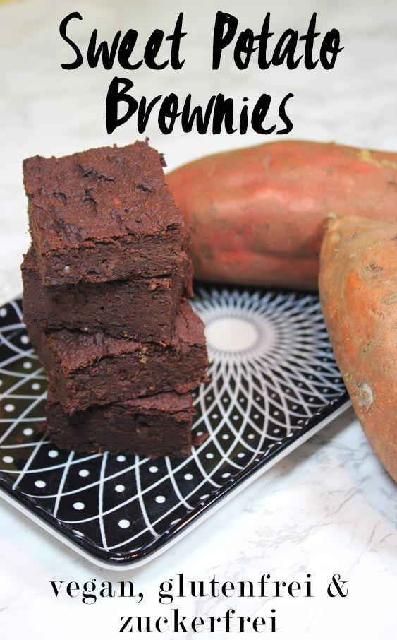 Saftige & schokoladige Süßkartoffel-Brownies. Das Rezept ist glutenfrei, vegan, zuckerfrei & mehlfrei.