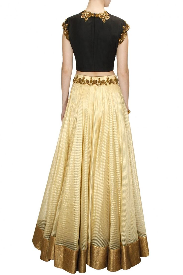 Black antique floral embroidered crop top with gold line woven lehenga available only at Pernia's Pop-Up Shop.