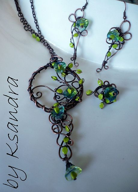 Wire wrapping pendant & earrings