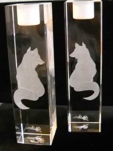 $79 Pair of Hand-Etched Fox Candlesticks Heavy Glass Equestrian Decor Horses Foxhunt