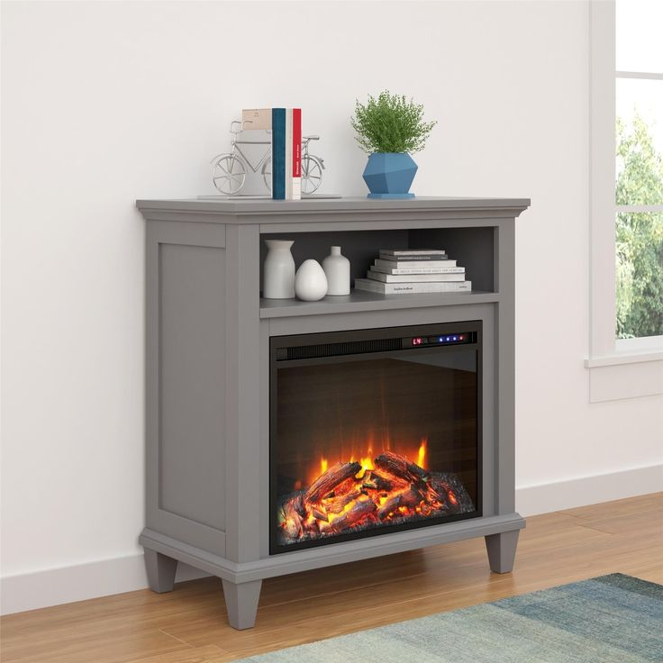 Ameriwood Home Ellington Electric Fireplace Accent Table 32-inch TV Stand (32-inch media fireplace, grey)