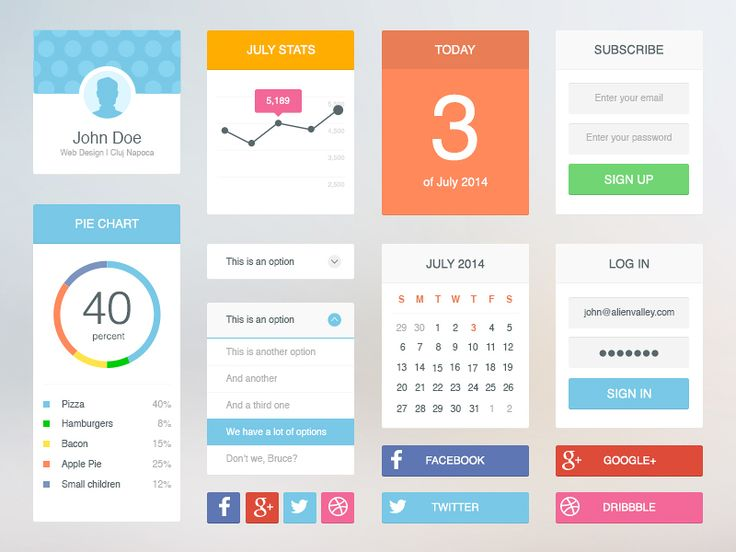 Freebie: Soft Flat UI Kit