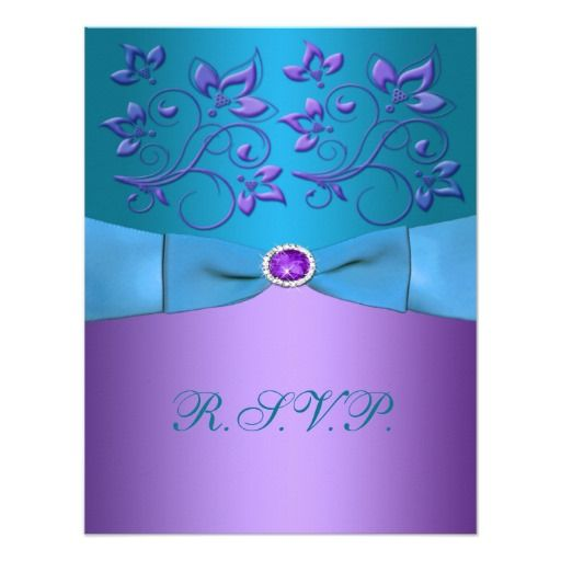 Purple and Turquoise Floral Reply Card