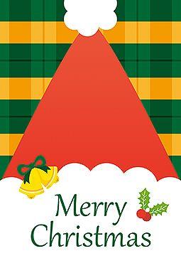 サンタ帽 クリスマス 2016  無料 イラスト サンタクロースの大きな帽子が印象的なカードです。クリスマスカラーのチェック柄も可愛いポイント!印刷して、すぐにカードが作成できます!