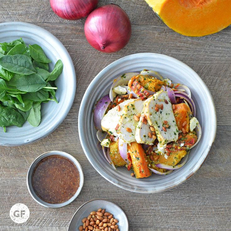 Youfoodz | Pesto + Pumpkin Chicken Salad $9.95 | This'll be your new sweet springtime fave with the likes of tender, pesto-coated chicken breast with roasted butternut pumpkin, crumbled feta, semi-dried tomatoes, red onion and toasted pine nuts! | #Youfoodz #YoullNeverEatFrozenAgain #HomeDelivery