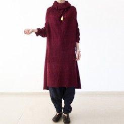 2016 New winter sweaters long burgundy plus size knit dress open hem