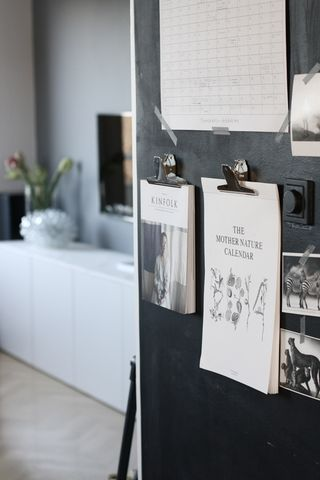 Clipboards on a blackboard wall in the kitchen. Yes please