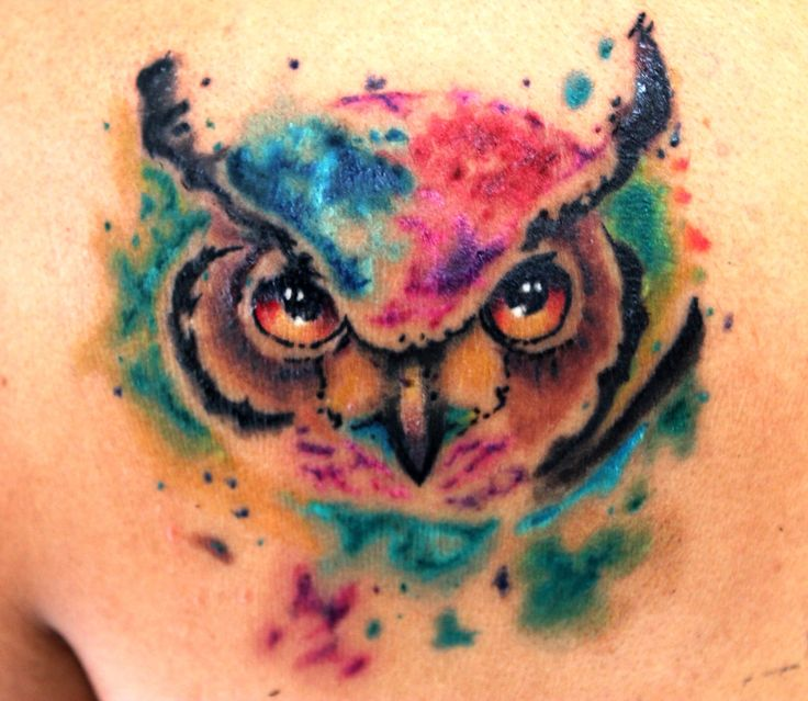 Tattoo buho watercolor