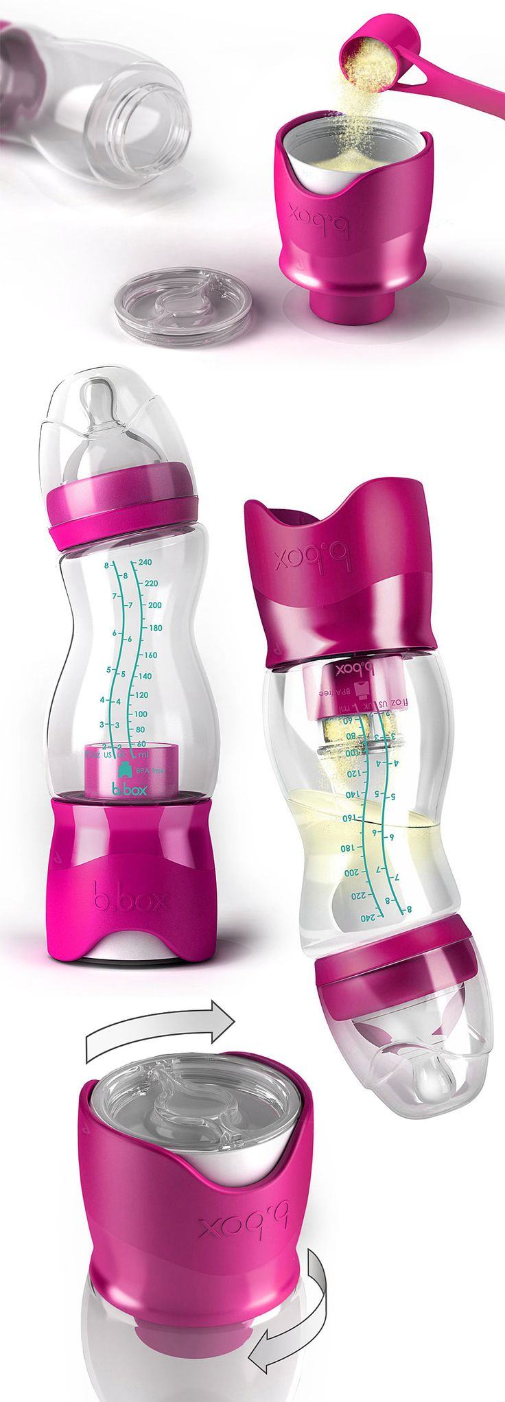 B.Box Baby Bottle - Put the formula in the bottom and water in the top. Simply twist the bottom to release the formula when you're ready to use it! Genius! #product_design