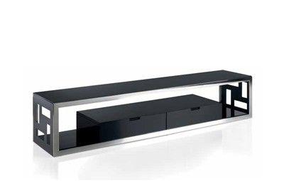 MUEBLE TV MANHATTAN. Mesa TV negro y acero cromado