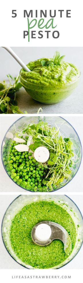 5 Minute Pea Pesto - This traditional pesto recipe gets a springtime twist with fresh peas and pea shoots! An easy, creamy pesto sauce perfect for topping pasta, chicken, fish, and more. Ready in just five minutes with your food processor!