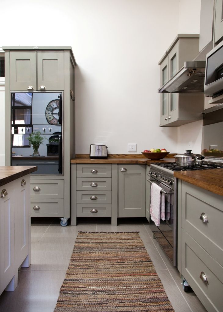 Swedish Style Free Standing kitchen units from Milestone Kitchens painted  in Dulux: Dusted Moss 1