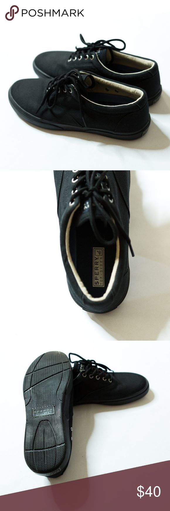"""Black canvas Sperry Top-Sider men's 10.5 Black canvas Sperry Top-Sider men's 10.5. Black uppers and soles. Excellent shape! Toe to heel = 12"""" Widest point of sole of shoe = 4"""" Feel free to ask questions or make an offer!  Sperry Shoes Sneakers"""