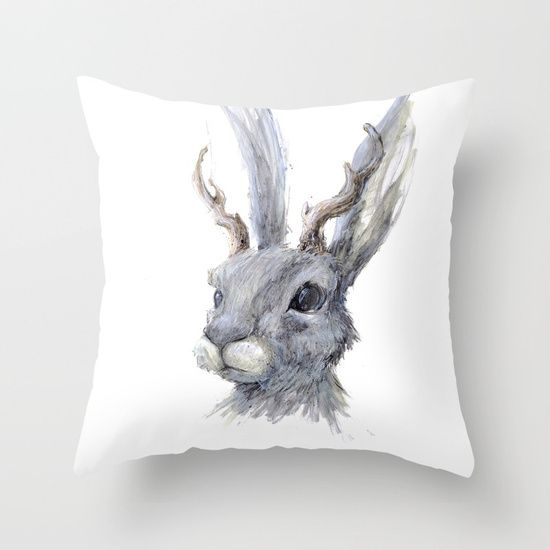Throw Pillow, jackalope, rawing, graphite, ink/pen, acrylic, comic, illustration  figurative,  jack-rabbit   rabbit,  bunny, antlers, forest, myth