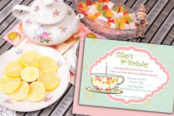 Tea Party Invitations  Birthday  Custom & by GigiMarieStationery