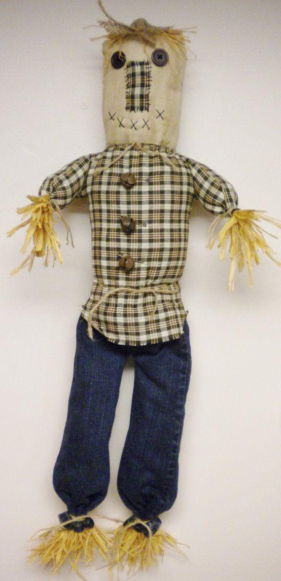 Scarecrow Folk Art Doll, Primitive Halloween Doll, Soft Sculpture Scarecrow, Fall Thanksgiving Decor