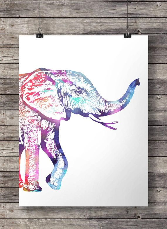 Watercolor Rainbow Elephant -  Printable wall art   Instant download