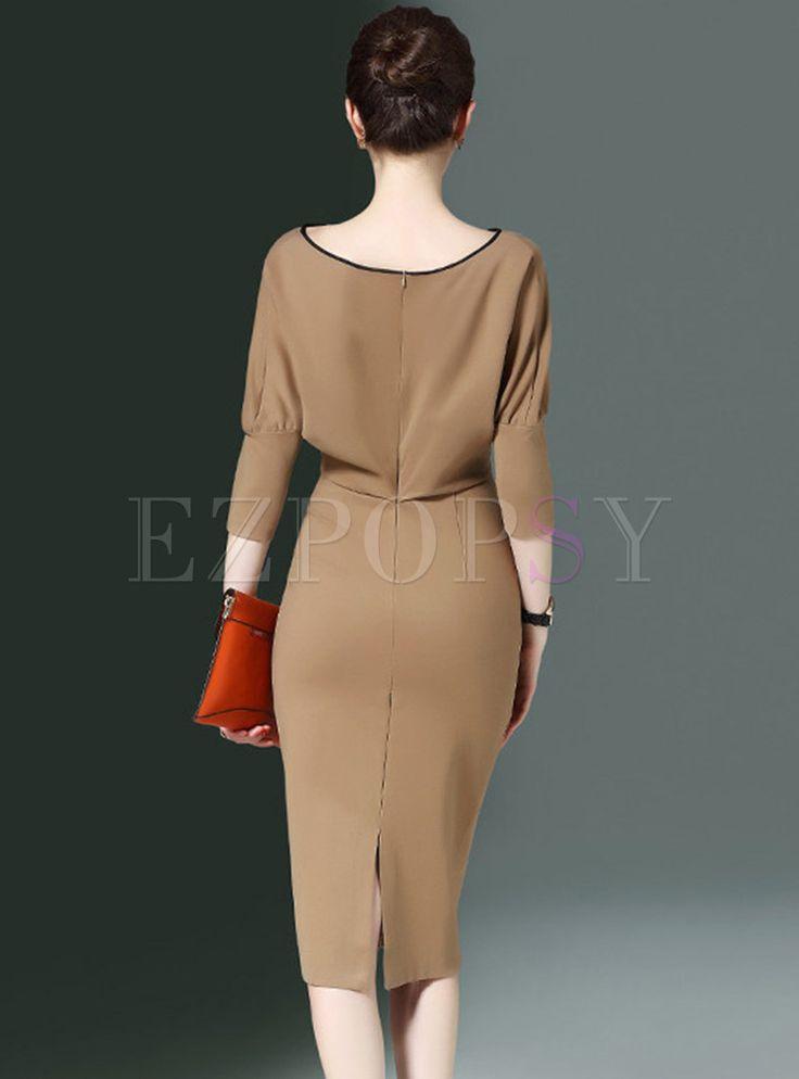 Trendy Khaki Slash Neck Slim Bodycon Dress With Zip-up 1