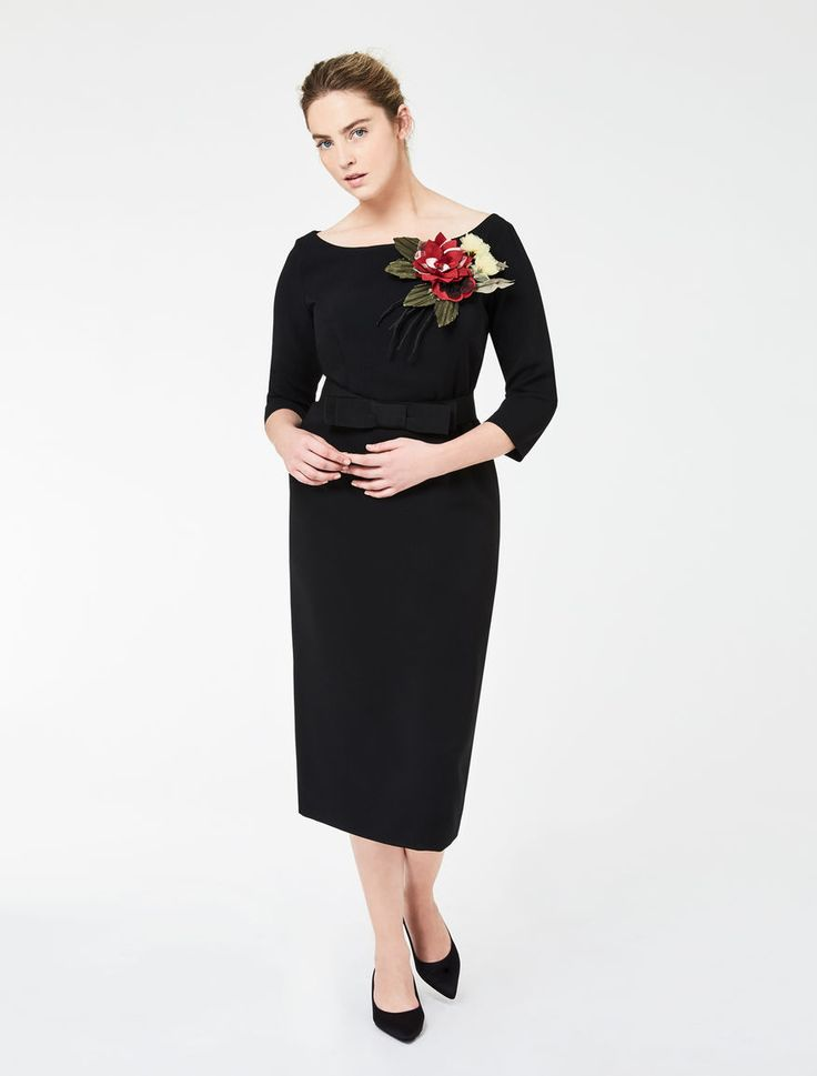 Marina Rinaldi DAISY black: Tube dress with silk flower.