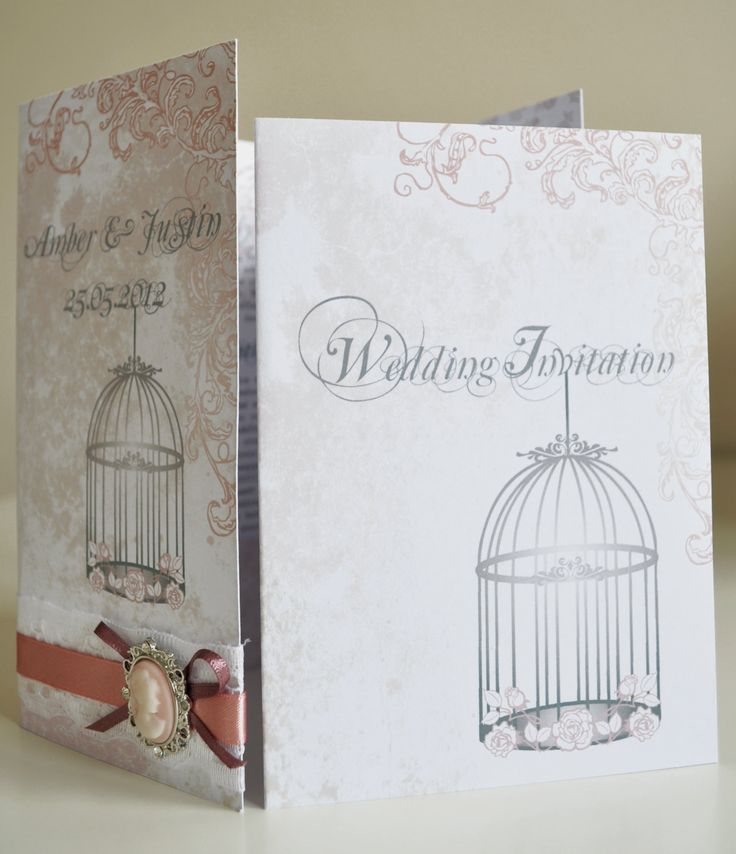 birdcage wedding invitation template%0A Chabby Chic style Wedding Invitation with lace and dusky pink ribbon detail  around the outer pocket