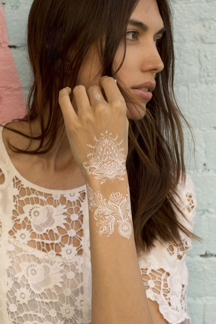 White Henna Temporary Tattoo. Lace. Pack of 2 sheets.: