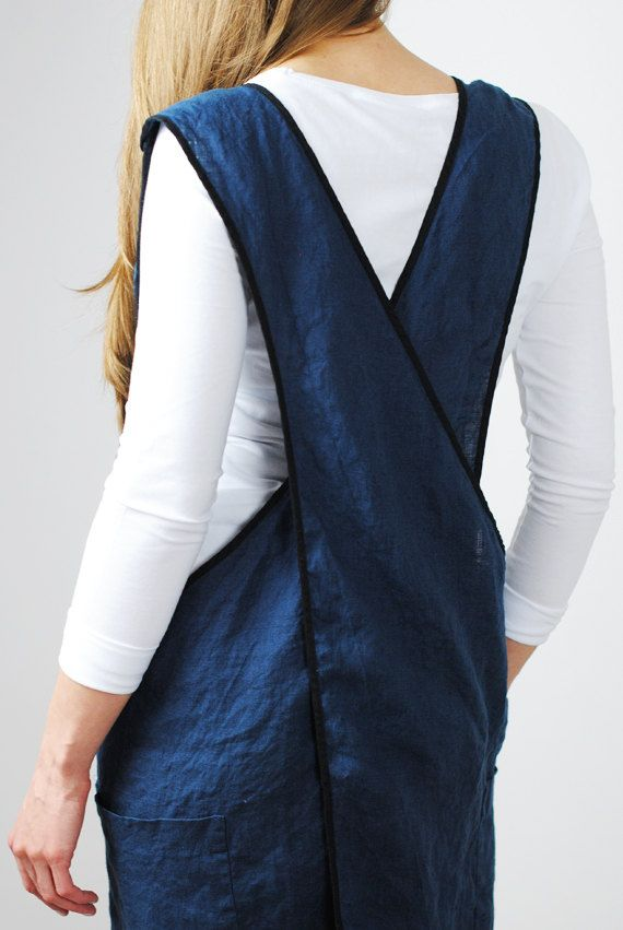 Linen apron dress in deep french blue color is made from 100% natural European linen, 200g/m2. This square cross linen apron has two big pockets on the