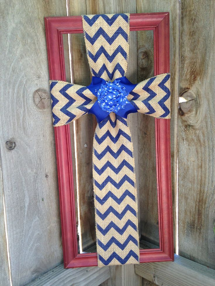 Burlap Cross, Picture Frame, Blue Chevron, Framed Cross, Cross Decor, Decorative Frame, Burlap, Home Decor, Rustic Decor, Cross, Frame, Wall by TheCreativeSign on Etsy
