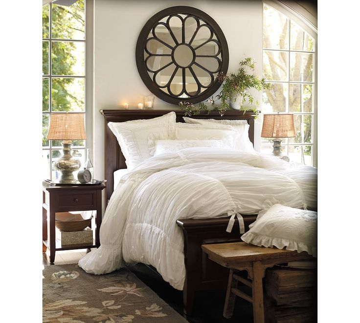 I just love all white bed linens....