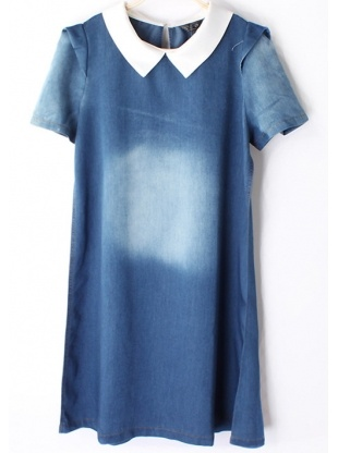 blue short sleeve round neck cowboy dress