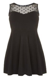 Gorgeous Plus Size Fashion for Women: Inspire at New Look - Inspire Black Spot Mesh Neck Skater Dress