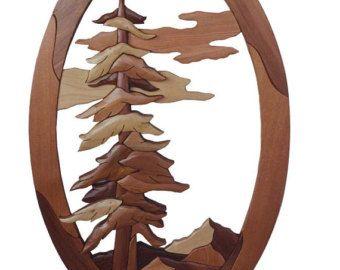 Intarsia Woodworking PATTERN - Pine Tree Scene