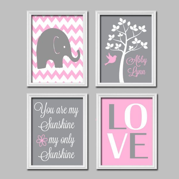 Elephant You Are My Sunshine Quote Child Name Grey Pink Chevron LOVE Tree Nursery Print Artwork Set of 4 Prints Girl Wall Decor Art Picture. $45.00, via Etsy.