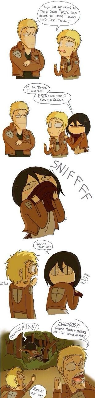 Sibling love // So that's how they found them // Just step aside and leave it to Mikasa // SnK // I love this.