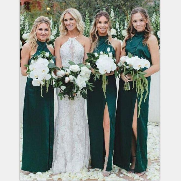 Long High Neck Dark Green Cheap Unique Design Bridesmaid Dresses with Split , WG394