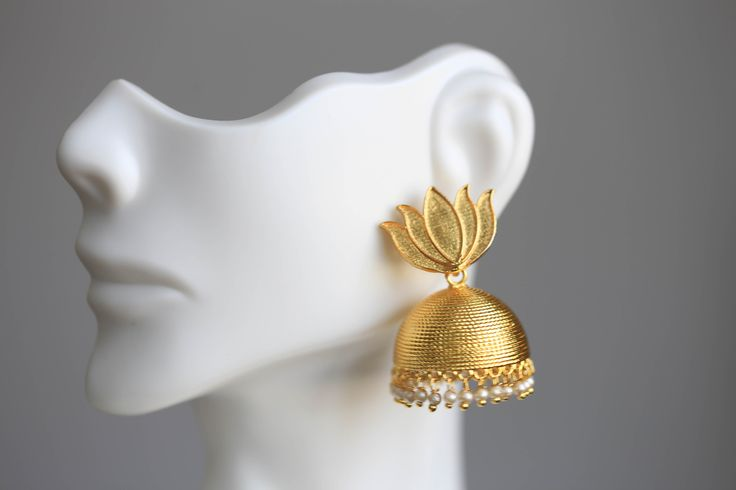 Lotus Gold Plated Jhumka