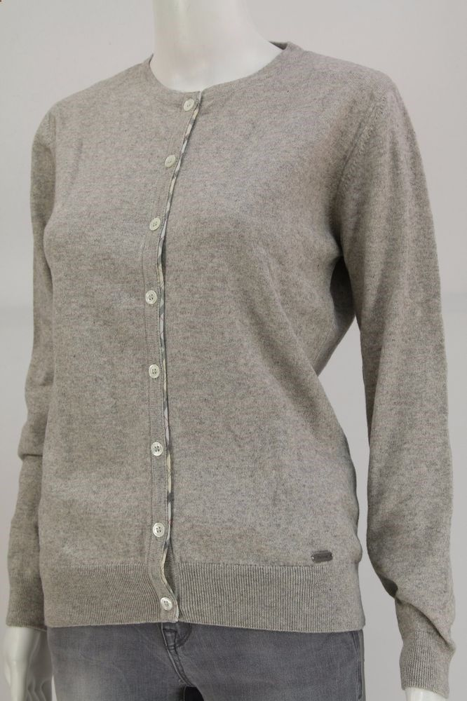 Barbour Women Cardigan Ladies Jumper Cotton and Cashmere Grey Size: M #Barbour