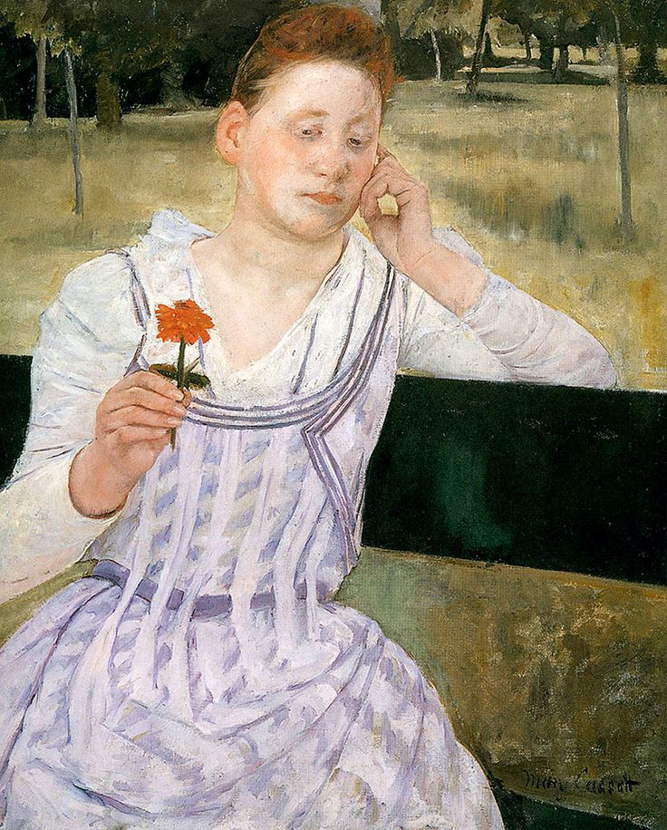 "Cassatt Mary - Woman With Red Zinnia 1891  (from <a href=""http://www.oldpainters.org/picture.php?/51014/category/16491""></a>)"